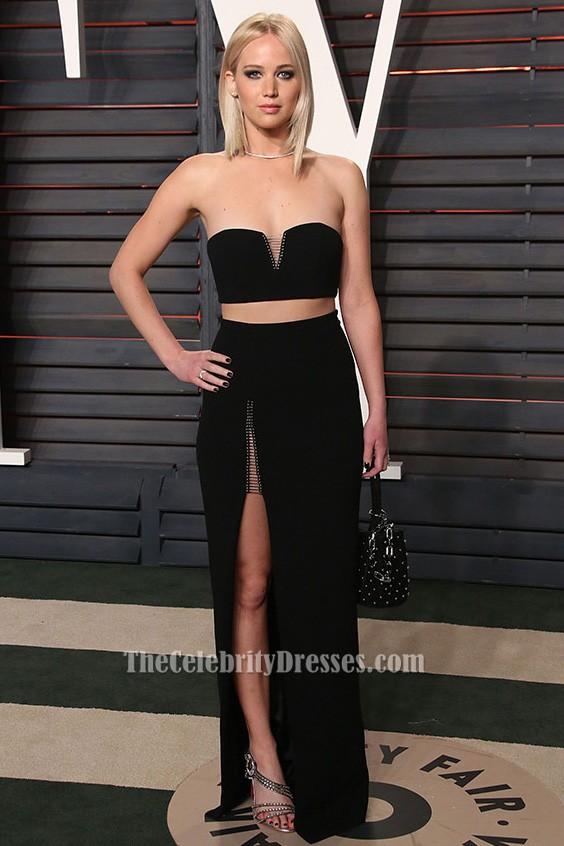 Jennifer Lawrence 2016 Oscar zwei Stück Kleid Berühmtheit roten ...