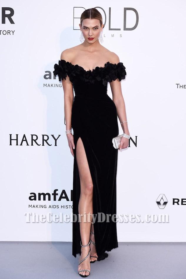 Karlie Kloss Schwarzes Off-the-Schulter Formal Kleid amfAR 2016 ...