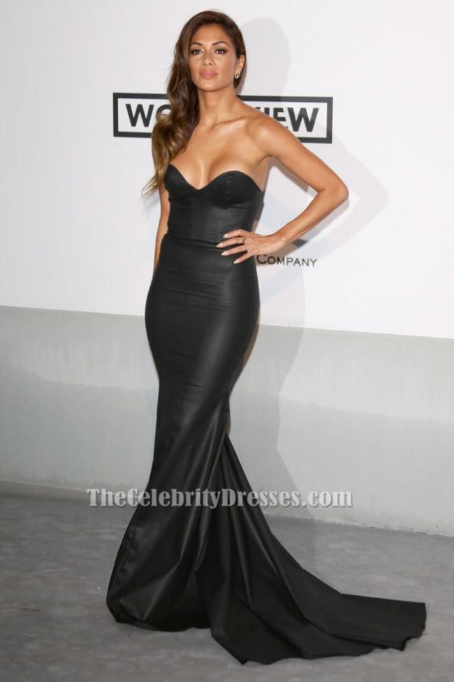 Nicole Scherzinger Trägerloses schwarzes formales Abendkleid 2014 ...