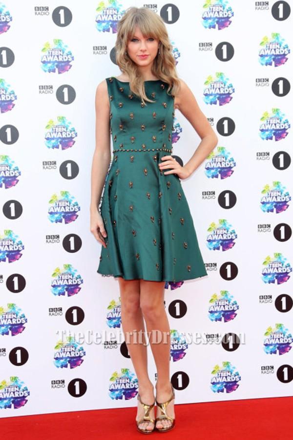 Taylor Swift dunkelgrün Perlen Cocktail Party Kleid Teen Awards 2013 ...