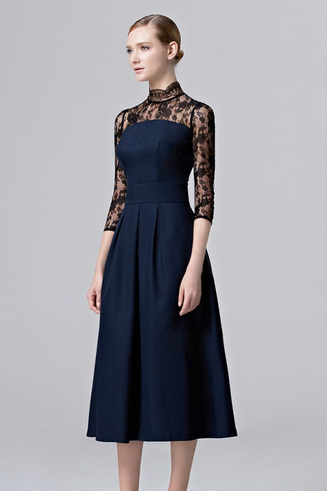 Girls Dark Navy Lace Party Dress Tea Length Cocktail Homecoming ...