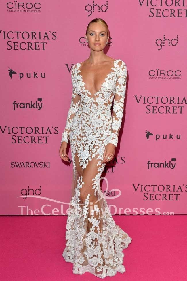 Candice Swanepoel sexy weiße Spitze Abendkleid mit Ärmeln 2014 ...