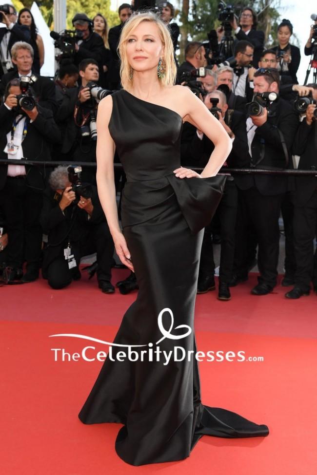 Cate Blanchett Black One Shoulder Sheath Formal Dress 2018 Cannes