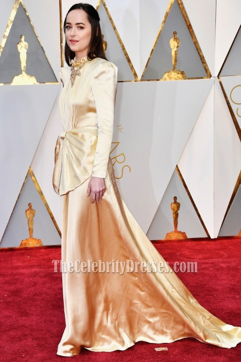 Dakota Johnson Gold lange Ärmel Abend Abendkleid 2017 Oscars Kleid ...
