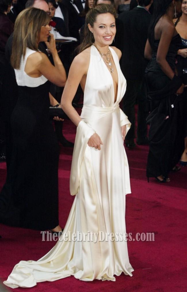 Angelina Jolie tiefer V-Ausschnitt Sexy weißes Oscar-Kleid Roter ...