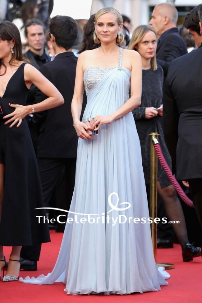 Diane Kruger One Shoulder Luxury Chiffon Formal Evening Dress 2018