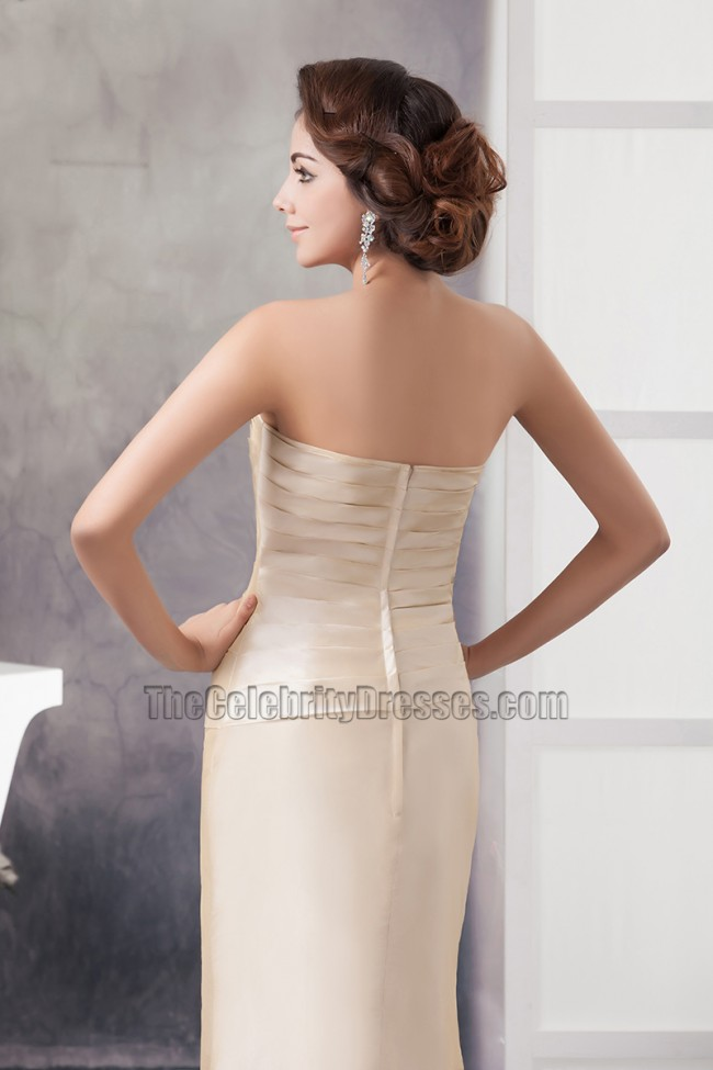 Elegant Champagne Strapless Formal Mother Of Bride Dress With A Wrap ...