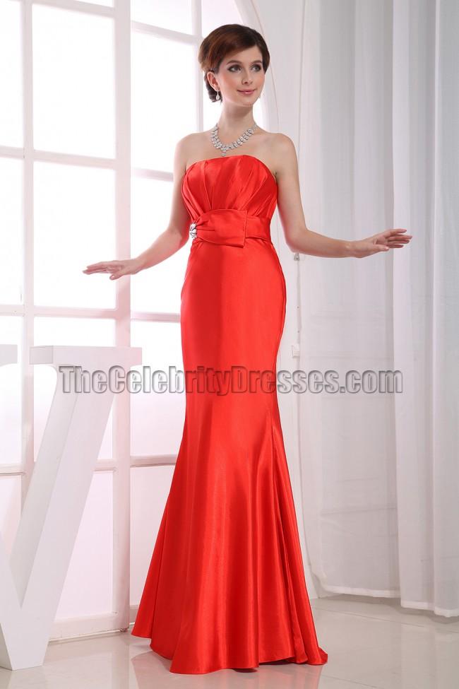 Elegant Orange Red Strapless Bridesmaid Prom Dresses ...