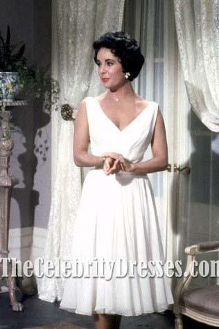 Elizabeth Taylor Vintages weißes Cocktailkleid in der Filmkatze auf ...