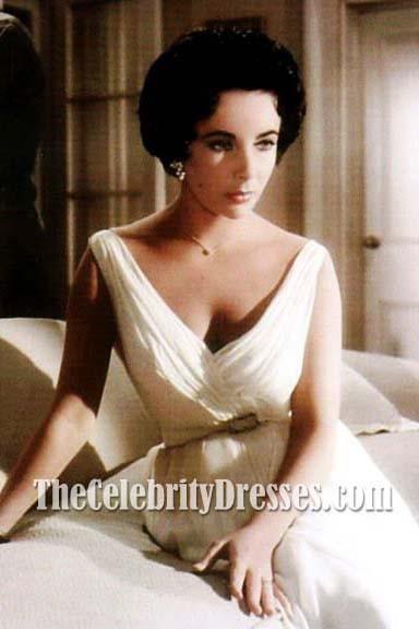 Elizabeth Taylor Vintages Weißes Cocktailkleid In Der Filmkatze Auf