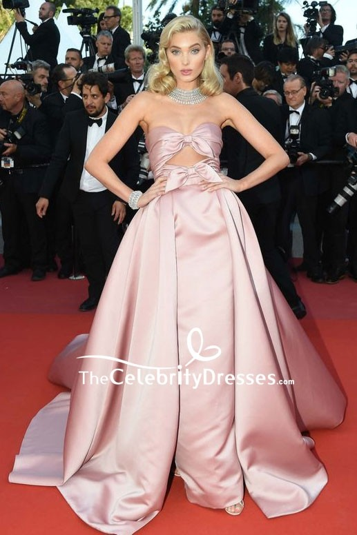 Elsa Hosk Strapless Cut Out Ball Gown 2018 Cannes Film Festival Red