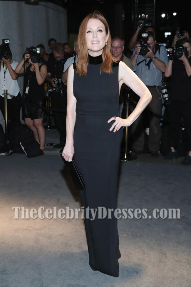 Julianne Moore Schwarze Spalte Abend Promkleid New York Fashion Week Thecelebritydresses