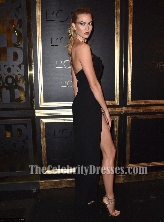 Karlie Kloss schwarz ein Schulter High Slit Abendkleid Gold ...