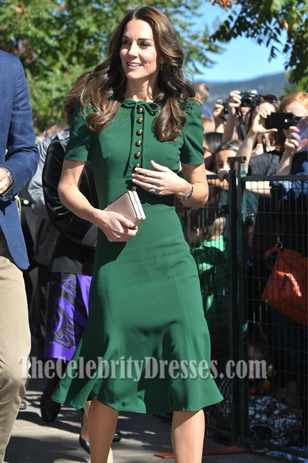 Kate Middleton Ihr Besuch In Paris Green Short Sleeved Party Kleider Thecelebritydresses