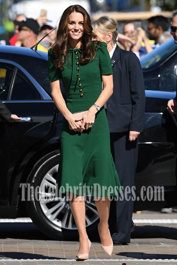 Kate Middleton Ihr Besuch in Paris Green Short Sleeved Party Kleider ...