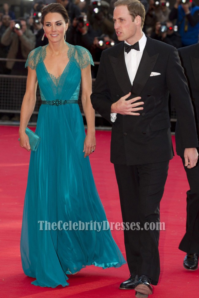 Kate Middleton Blue Evening Prom Formal Dress London Olympic gala ...