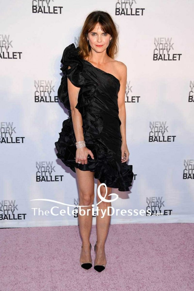 Keri Russell Schwarzes One Shoulder Kleid Mit Ruschen Und Spitze Sexy Ballkleid New York City Herbstmode Gala 2017 Thecelebritydresses