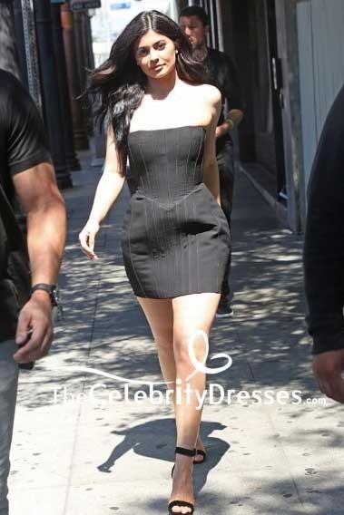 Kylie Sexy Schwarzes Jenner Sommerkleid Trägerloses Kleines KcF3l1TJ