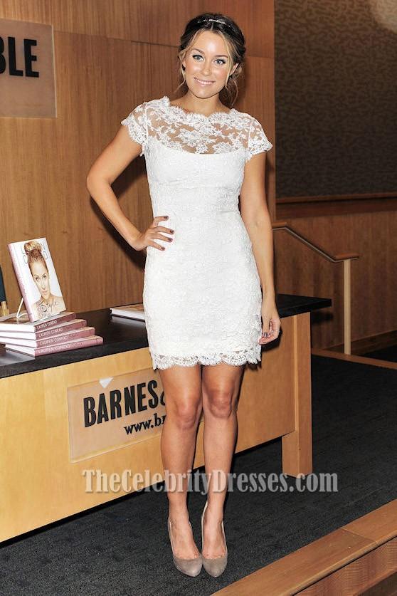 Lauren Conrad kurze weiße Spitze-Partei-Kleid-Cocktailkleider ...