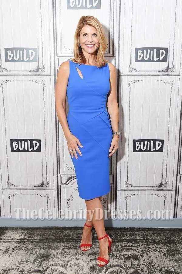 Lori Loughlin blau ausgeschnittene Hülle Partei Kleid in Show Fuller ...