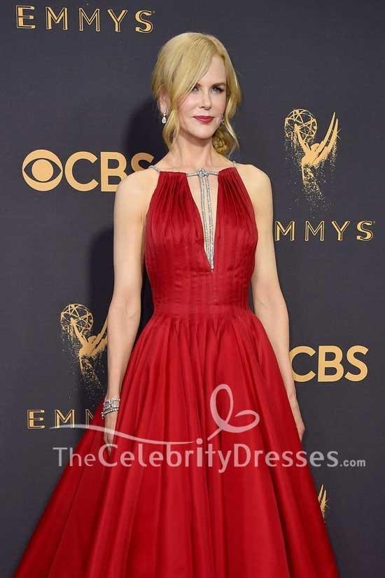 Nicole Kidman Dunkelrot Tiefem V-Ausschnitt Tiefer Ballkleid Kleid ...