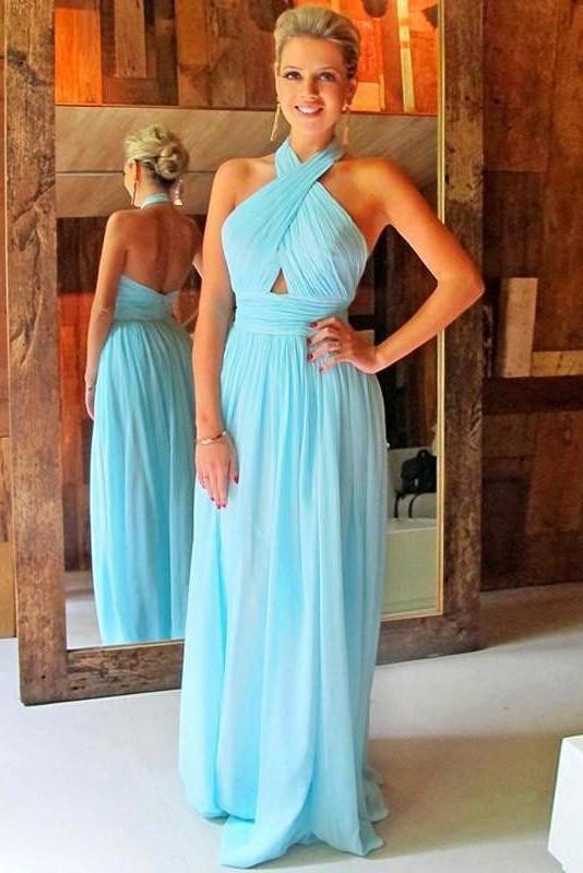 Blue Bridesmaid Dress   Sky Blue Chiffon Halter Cut Out Bridesmaid Dress Cheap