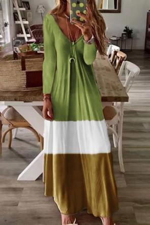 Multi-Color V-Neck Maxi Dress