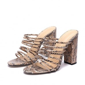 Snakeskin Print Strap Chunky Heel Sandals For Women