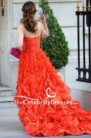 Blair Waldorf Orangerotes trägerloses gekräuseltes Kleid im Klatschmädchen