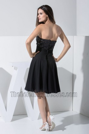New Style Black Strapless Cocktail Dresses Party Homecoming Dress