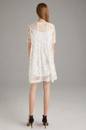 White Two Pieces Homecoming Lace Dress With 1/2 Sleeves TCDTB8581