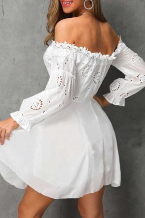 Off-the-shoulder Mini Lace Dress