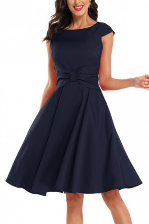 Scoop Bow A-line Homecoming Dress