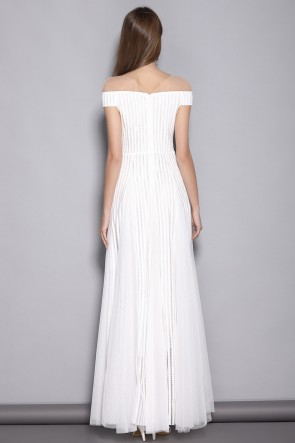 White A-line Off-the-shoulder Prom Dress TCDTB8376