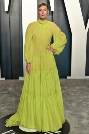 Maria Sharapova Lemon Green Ruffled Formal Dress Vanity Fair Oscar Party 2020