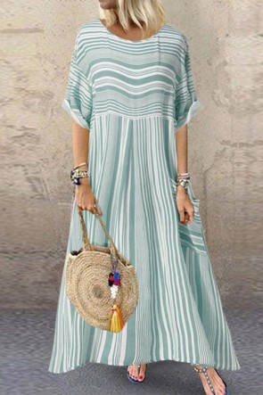 Scoop Pockets Striped Maxi Dress
