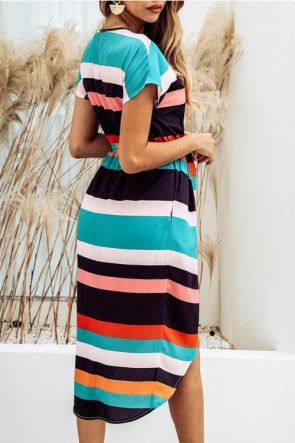 Multicolor Striped Printed High Low Dress