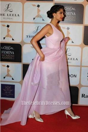 Sonam Kapoor Rosa Langes Ein-Schulter Abendkleid Ballkleid L'Oréal Paris Femina Frauen Awards