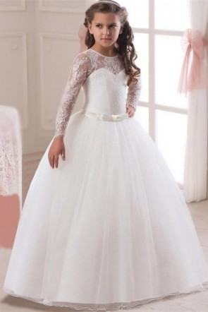 Ball-Gown Lace Junior Bridesmaid Dress