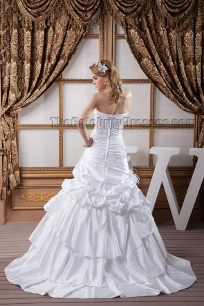 A-Line Strapless Sweetheart Beaded Taffeta Wedding Dresses