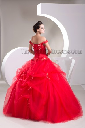 Ball Gown Red Off-the-Shoulder Beaded Lace Up Pageant Formal Dress