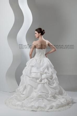 Ball Gown Strapless Sweetheart Lace Taffeta Chapel Train Wedding Dress
