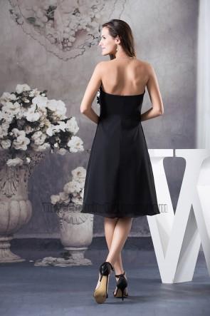 Black Strapless A-Line Knee Length Cocktail Party Graduation Dresses