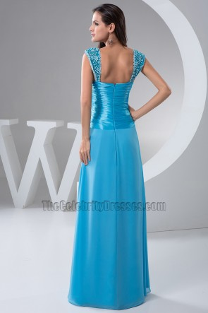 Blue Floor Length Evening Bridesmaid Dresses Prom Gown