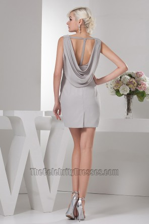 Celebrity Inspired Silver Backless Party Homecoming Dresses