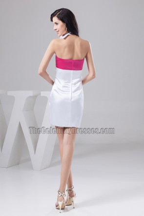 Fuchsia And White Halter Party Homecoming Dresses