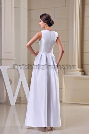 White Floor Length A-Line Formal Dress Evening Prom Gowns