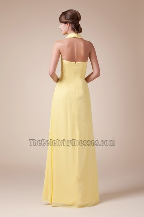 Celebrity Inspired Yellow Halter Prom Gown Evening Dresses