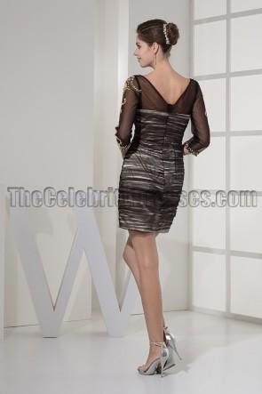 Schickes kurzes schwarzes Tüll-Cocktail-Partykleid mit V-Ausschnitt