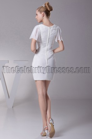 Chic Short White Asymmetric Graduation Party Cocktail Dresses